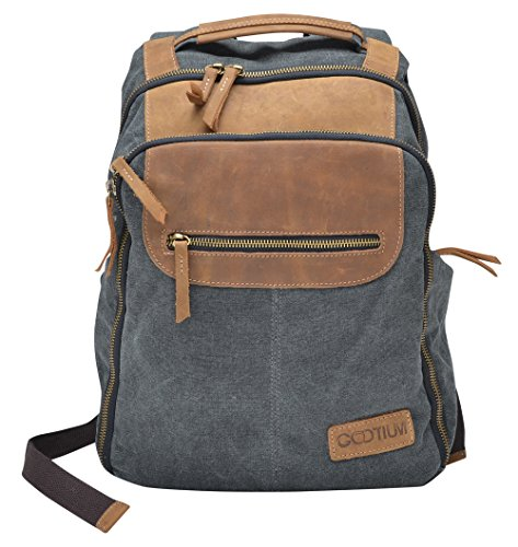 Gootium Canvas Real Leather Trim Travel School Backpack 14-inch Laptop Bags, Grey