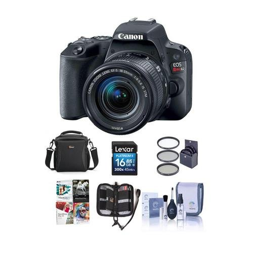 Canon EOS Rebel SL2 DSLR with EF-S 18-55mm f/4-5.6 IS STM Lens - Black - Bundle with 16GB SDHC Card, Camera Case, 58mm Filter Kit, Cleaning Kit, Memory Wallet, Software Package