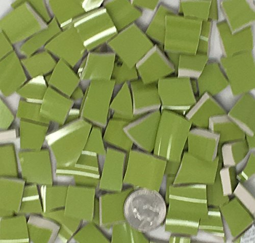 100+ Mosaic Tiles China Broken Dishes Plate Pieces Art Supply Tile Mosaics Craft ~ Bright Chartreuse Stoneware Tiles (T#458) ()