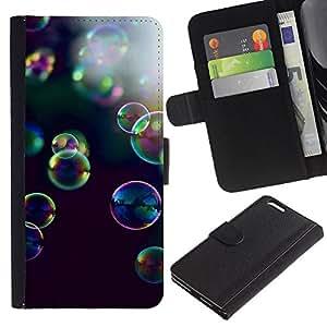 LASTONE PHONE CASE / Lujo Billetera de Cuero Caso del tirón Titular de la tarjeta Flip Carcasa Funda para Apple Iphone 6 PLUS 5.5 / bubbles yellow purple nature black