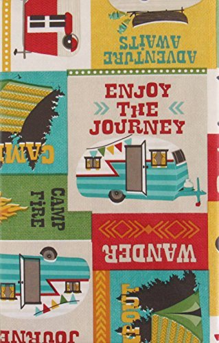 (Lodge Enjoy the Journey Campout Patchwork Vinyl Flannel Back Tablecloth (52
