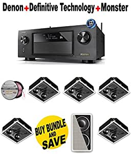 Denon AVR-X4200W 7.2 Channel Full 4K Ultra HD Network A/V Receiver with Wi-Fi and Bluetooth + 5 Definitive Technology - UIWRCSII + Definitive Technology - IWSUB + Monster Cable - PLATXPMS50 Bundle