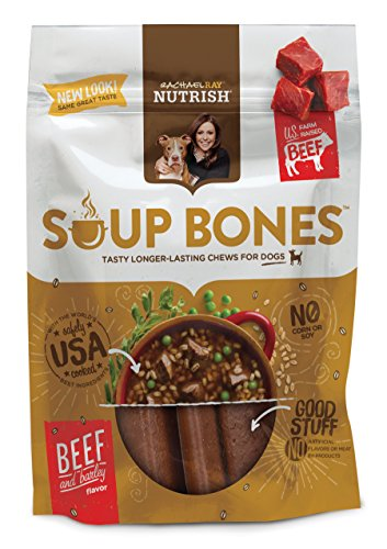 Rachael Ray Nutrish Soup Bones Dog Treats, Real Beef and Barley Flavor, 6.3 oz. Bag (Pack of 8)