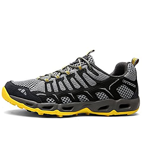 [NEW SIZE VERSION]CraneLin Men and Women's Outdoor Hiking Shoes Breathable Meshing Sneaker ClOCHSM6126-Dark Grey-39