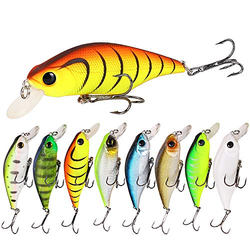 Sunnysport Fishing Lures, Crankbait Kit Mixed, Carp Pike Whopper Plopper Floating Rotating Tail Topwater- Minnow Spinner Blade Baits Jigging Swimbait for Trout Salmon Bass CRA(6/8/5/5 pcs) ()