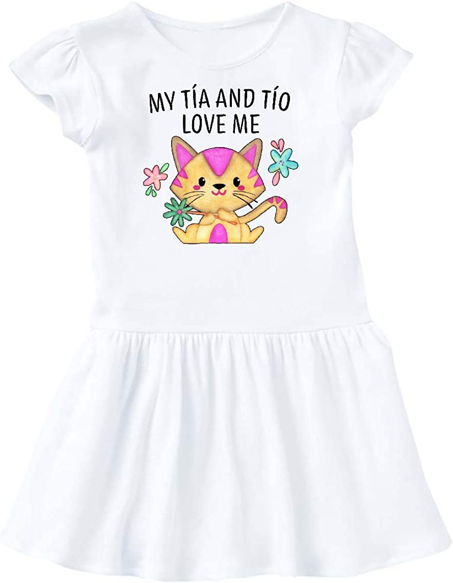 inktastic My T/ía and T/ío Love Me with Cute Kitten and Flowers Baby T-Shirt