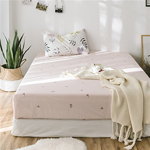 FADFAY Shabby Floral Bed Sheet Set Girls Bedding White and Pink Cotton Bedding Set Hypoallergenic Lightweight Deep Pocket Sheets 4-Piece Queen Size