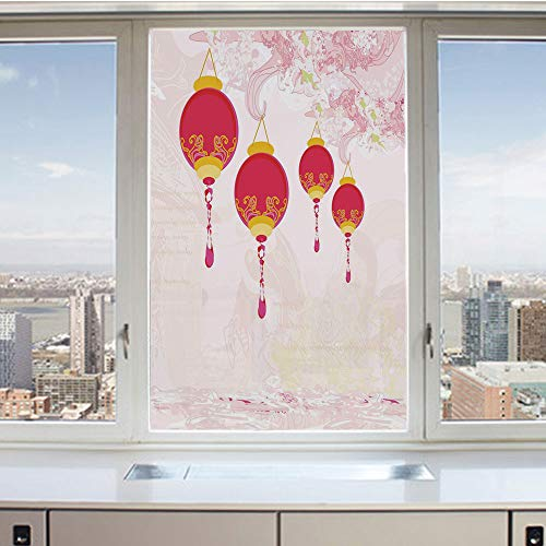 3D Decorative Privacy Window Films,New Year of Chinese Calendar Celebrations Eastern Imagery Abstract Asian Art Decorative,No-Glue Self Static Cling Glass film for Home Bedroom Bathroom Kitchen Office -