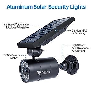 DrawGreen Solar Lights Outdoor Motion Sensor Aluminum,1400-Lumens Bright LED Spotlight 5-Watt(110W Equivalent),Wireless Solar Flood Security Lights for Garden Porch Patio,Solar Powered Lights(Black)