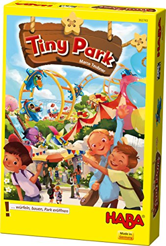 HABA Tiny Park - Risk Taking, Dice Rolling, Tile Laying, Amusement Park Building Game (Made in Germany) by HABA