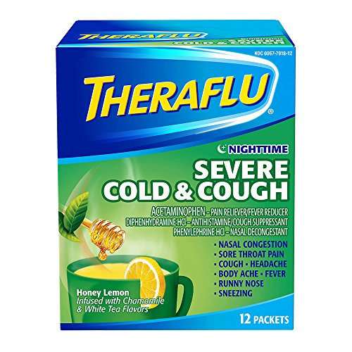 Price comparison product image Theraflu Nighttime Severe Cold and Cough Medicine, Honey Lemon, Chamomile, and White Tea Flavors, 12 Count