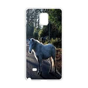 {Funny Series} Samsung Galaxy Note 4 Case Horses England, Unique Design by Rock Case Okaycosama - White
