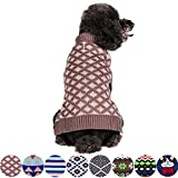 Blueberry Pet 2 Patterns Round Argyle Designer Dog Sweater, Back Length 14', Pack of 1 Clothes for Dogs