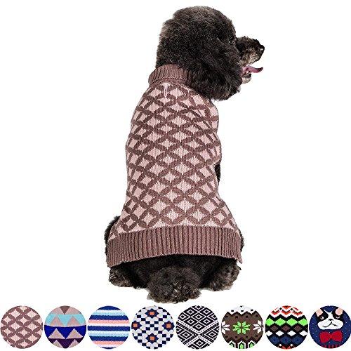 Blueberry Pet 2 Patterns Round Argyle Designer Dog Sweater, Back Length 10
