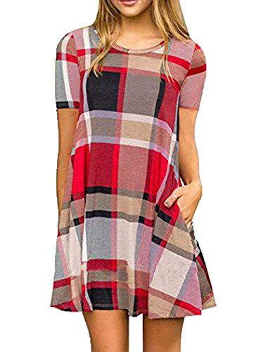 Halife Womens Plaid Print Swing Tunic Mini Dress Short Sleeve T Shirt Dress w/Pockets