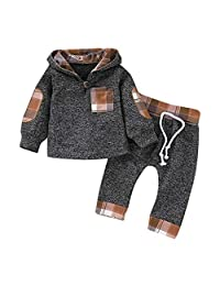 Staron  Infant Baby Boy Hoodie Plaid Long Sleeve Hooded Tops Sweatsuit Pants Outfits