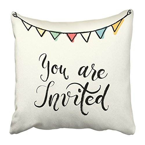 Emvency Decorative Throw Pillow Covers Cases You are Invited to The Party Hand Lettering Abstract Wedding Modern Brush Pen Calligraphy Cute 16x16 inches Pillowcases Case Cover Cushion Two Sided]()