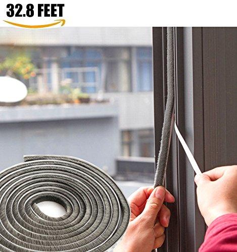 Door Window Seal (SRHOME 32.8 ft Self Adhesive Seal Strip Weatherstrip for Window,Door,Wardrobe,Car,Perfect to Windproof Shelter From The Wind,Dustproof,Pest Control,Soundproof Sound Deadener (0.35