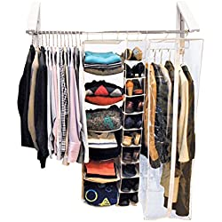 QuikCLOSET – 3 ft. to 5 ft. Folding Collapsible Triangular Wall Mounted Clothes Storage/Drying Rack - White ABS Plastic with Stainless Steel Rods