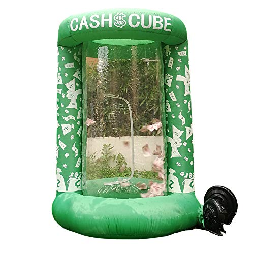 Inflatable Cash Cube Booth for Advertisment, Inflatable Money Grab Machine for Event (No Blower Included) (Green)