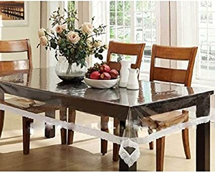 Kuber Industries PVC Dining Table Cover 6 Seater   White