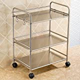 3-storey kitchen rack / floor rack / microwave oven / storage cart / multi-shelf / Stainless steel: 201/304 ( Size : 52CM , Style : 304 Stainless steel )