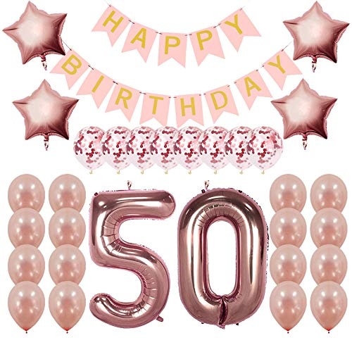 Rose Gold 50th Birthday Decorations Party Supplies Gifts for Women - Create Unique Events with Happy Birthday Banner, 50 Number and Confetti Balloons ()