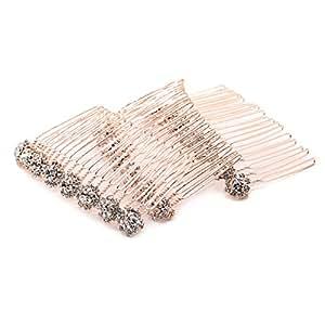 MAISHO 3 Pcs Alloy Diamond Crystal Comb Hair Accessories, Gold