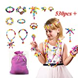 Pop Beads, 530+PCS Pop Arty Snap Together Beads for Kids Toddlers Creative DIY Jewelry Set Toys - Making Necklace, Bracelet and Ring - Ideal Christmas & Birthday Gifts for 3, 4, 5, 6, 7 Year Old Girls