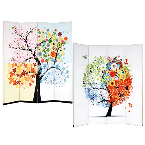 Roundhill Furniture 4-Panel Double Sided Painted Canvas Room Divider Screen, Life Tree by Roundhill Furniture