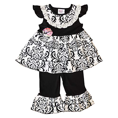 Capri Outfit Rumba - AnnLoren Girls 6/6X Black & White Damask Rumba Tunic Capri Clothing Set