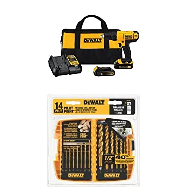 DEWALT DCD771C2 20V MAX Lithium-Ion Compact Drill/Driver Kit with DW1354 14-Piece Titanium Drill Bit Set