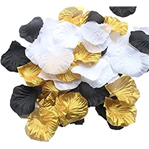 ALLHEARTDESIRES 900 Pack Mixed Gold Black White Artificial Silk Rose Petal Flower Centerpieces Table Scatters Confetti Vintage Wedding Flower Basket Vase Filler Birthday Bridal Shower Decoration 16