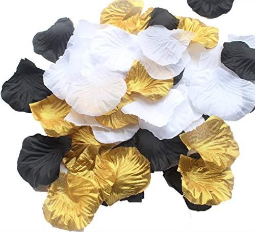 ALLHEARTDESIRES 900 Pack Mixed Gold Black White Artificial Silk Rose Petal Flower Centerpieces Table Scatters Confetti Vintage Wedding Flower Basket Vase Filler Birthday Bridal Shower Decoration