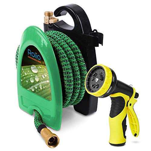 (Rolio Expandable Garden Hose with Hose Reel - 50 FT Garden Hose with 9 Function Spray Nozzle Included, 3/4
