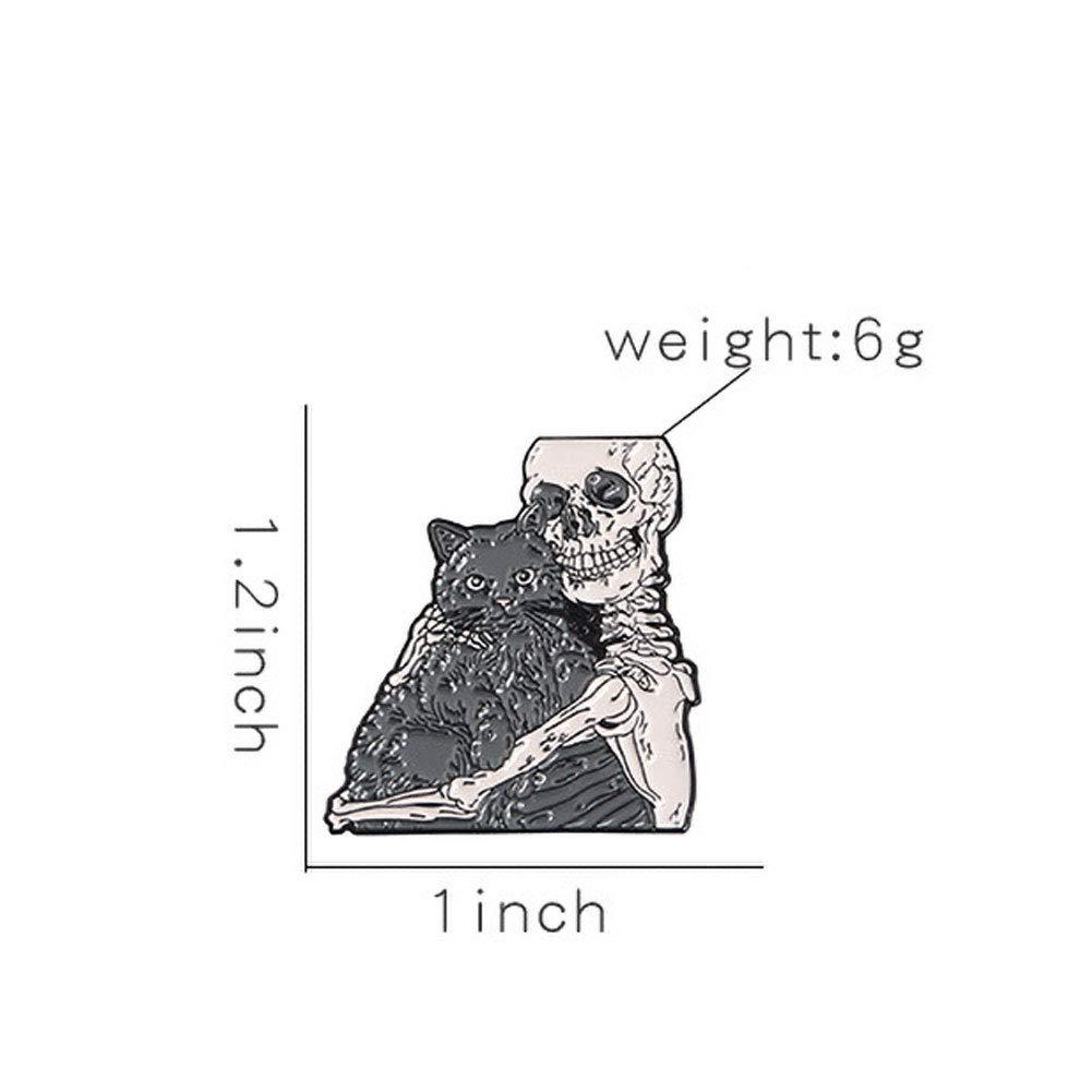 Zonfer Pasadores esqueleto gato esqueleto Amor Santo broches joyer/ía Placas Sea Life pernos de la solapa g/ótica Amor cr/áneo