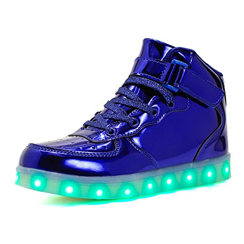 Voovix Kids LED Light Up High-top Shoes Rechargeable Hi-Shine Glowing Sneakers for Boys and Girls Child Unisex(blue01,US4.5/CN37)