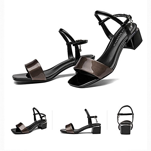 Dew LIXIONG del Altura verano profesional Toe tac mujer Metal Rhinestone colgante Zapatillas Zapato moda U7xUH