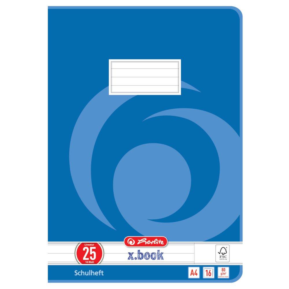 Herlitz, quaderno formato A4, 16 fogli, certificato FSC Mix, confezione da 10 pezzi, motivi assortiti A4, a quadretti con bordo, rigatura 28 Confezione da 10 Lineatur 28 Pelikan 3322807