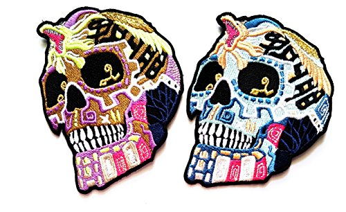 Nipitshop Patches Set 2 Day of the Dead Mexican Sugar Skull with King Cobra Iron on Embroidered Patche for Clothes Costume or (Day Of The Dead Costume Australia)