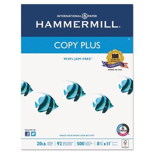 Copy Plus Copy Paper, 92 Brightness, 20lb, 8-1/2 x 11, White, 5000 Sheets/Carton, Sold as 10 Ream by Hammermill