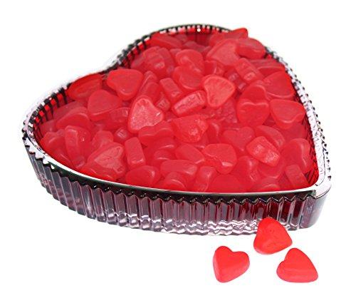 Godinger Tenderness Red Heart Tray with 1Lb. Gummy Swedish Fish Gummy Hearts - Valentines Gift - Swedish Brand Glasses