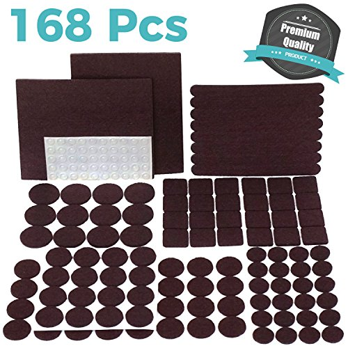 PREMIUM Furniture Pads Set 168 Pcs Value Pack Brown - Heavy Duty Adhesive Felt Pads for Furniture Feet, Assorted Sizes with Noise Dampening Rubber Bumpers. Floor Protectors for Hardwood & Laminate (Wood Dot)