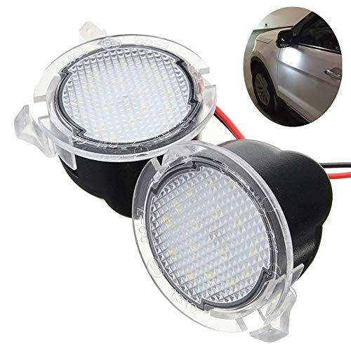 - Lightdu LED Puddle White Lights Under Side Rear View Mirror for Ford Explorer Edge Mondeo Taurus Everest 2Pcs Lights