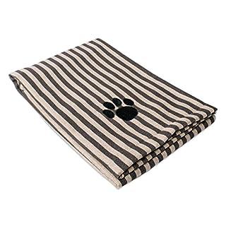 "DII Bone Dry Microfiber Dog Bath Towel with Embroidered Paw Print - 44x27.5"" - Brown Stripe"