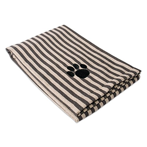 Stripe Cool Dog (DII Bone Dry Microfiber Pet Bath Towel with Embroidered Paw Print, 44x27.5