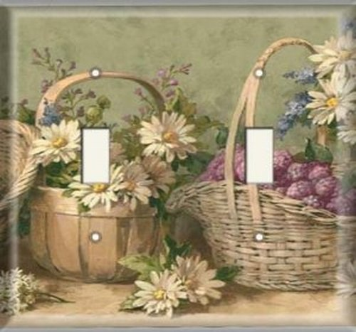 Double Light Switchplate Cover - Flower Baskets