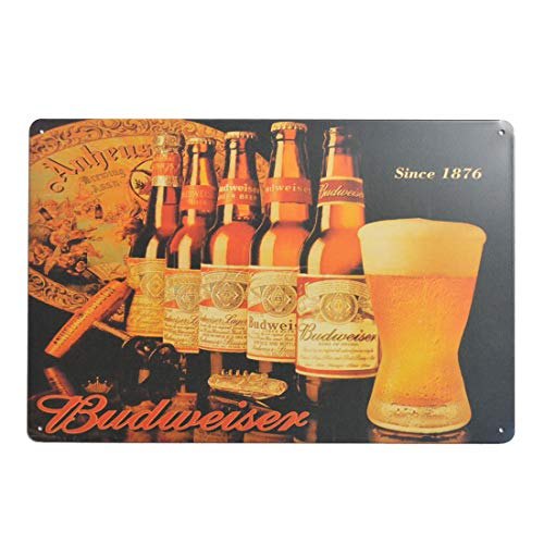 (Budweiser Bottled Beer Tin Sign, Wall Metal Posters Plaques for Home Bar Garage Man Cave, 8'x12'/20x30cm )