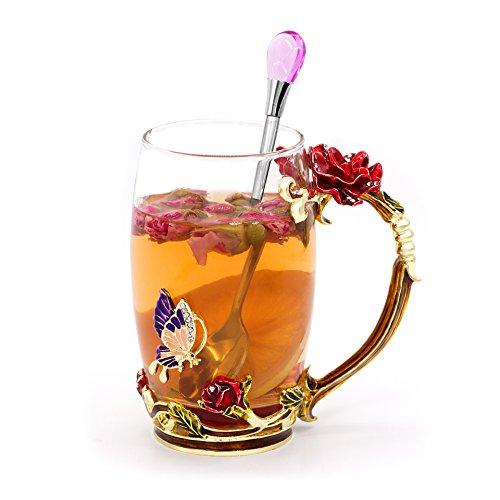 Daycindy Handmade Enamel Cup Glass Coffee Mug with Spoon Set (13oz, Rose - Cup Coffee Enamel