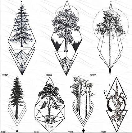 yyyDL Rombo negro Pino Tatuajes de triángulo geométrico temporal ...